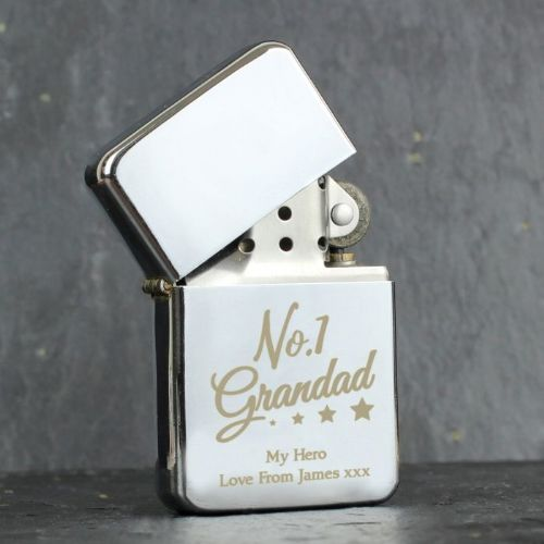 Personalised 'No.1 Grandad' Silver Lighter